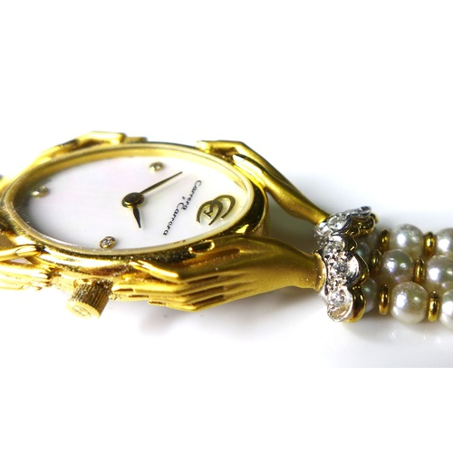 115 - A Carrera y Carrera 18ct gold and diamond lady's dress wristwatch, oval mother of pearl dial with di...