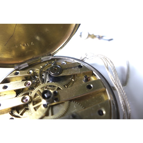 118 - A late 19th century Breguet open faced key wind pocket watch, 800 silver and gold plated case with b...