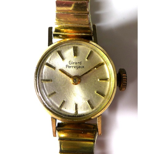 101 - A vintage Girard Perregaux gold plated and steel cased lady's wristwatch, circa 1970, circular pearl...
