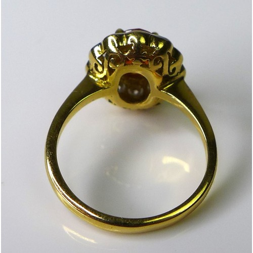 198 - An 18ct gold, diamond and yellow sapphire dress ring, the central honey coloured oval stone of appro...