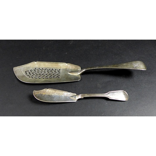 42 - A Victorian silver fish slice, with pierced decoration, Mary Chawner, London 1838, 31cm long, togeth...