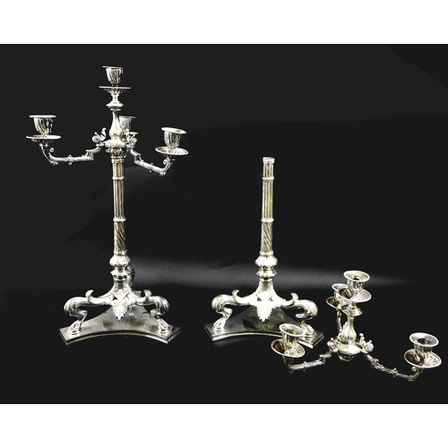 79 - A pair of Victorian Harris & Land silver plated three branch candelabra, circa 1860, with central no...