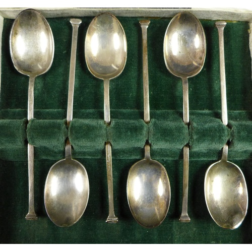 51 - Four cased sets of six  George V and later silver teaspoons, comprising a George V set of six teaspo...