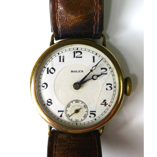 110 - A vintage Rolex gold plated gentleman's wristwatch, circa 1940, circular white enamel with with blac...