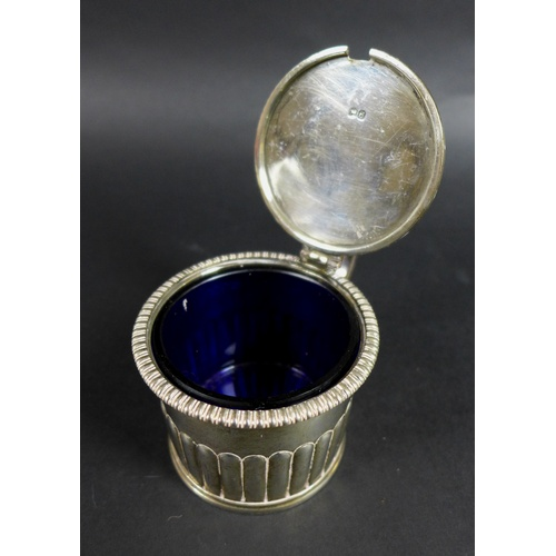45 - A group of silver items, comprising a George V inkwell a/f, 12.5cm diameter, 5.5cm high, Adie Brothe...