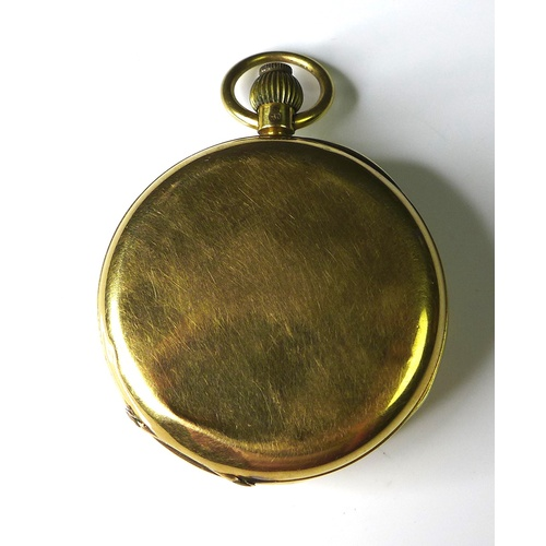 119 - A late Victorian 18ct yellow gold keyless wind open faced pocket watch, white enamel dial with Roman...