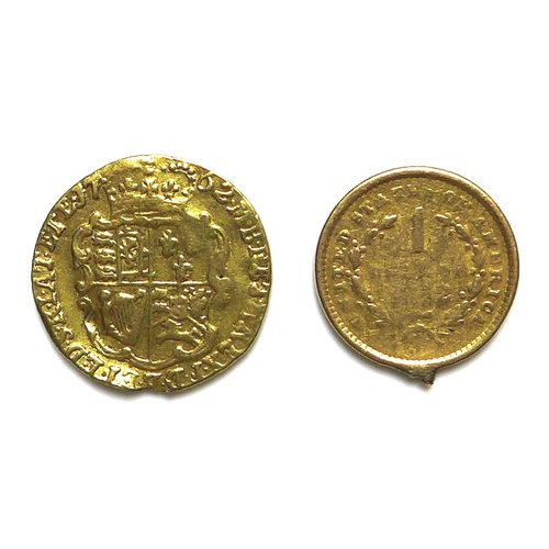 86 - A George III gold quarter guinea, 1762, 2.1g, 15.5mm, together with a United States of America 1 Dol...