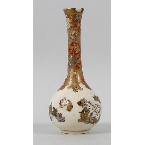 3 - A fine Japanese Satsuma pottery miniature bottle vase by Yabu Meizan, Meiji period, with long slende...