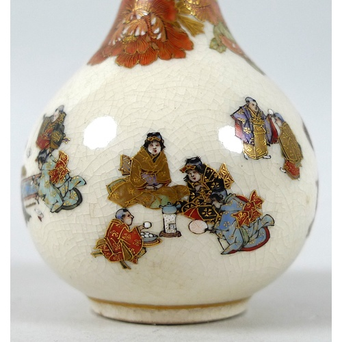 3 - A fine Japanese Satsuma pottery miniature bottle vase by Yabu Meizan, Meiji period, with long slende...