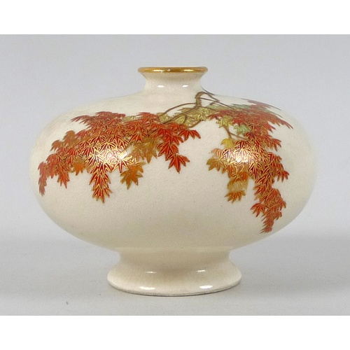 2 - A fine Japanese Satsuma pottery miniature vase by Yabu Meizan, Meiji period, of compressed ovoid for...