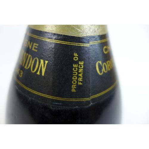 107 - A bottle of Moet & Chandon 1943 Coronation Cuvee vintage champagne, released in 1953 for Elizabeth I...