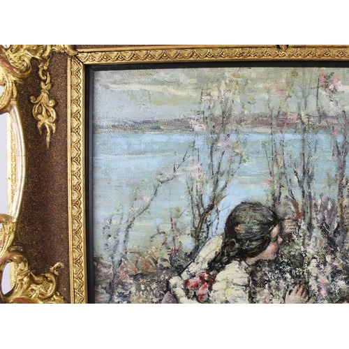 225 - Edward Atkinson Hornel (Scottish, 1864-1933): 'May Blossom', depicting two young girls playing among...