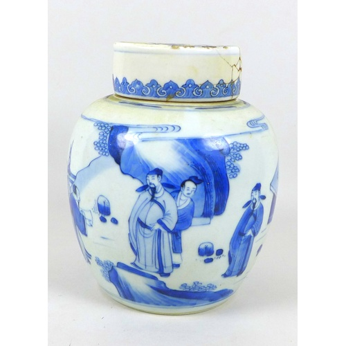 36 - A Chinese Qing Dynasty, 18th century, porcelain ginger jar with associated lid, decorated in Transit...
