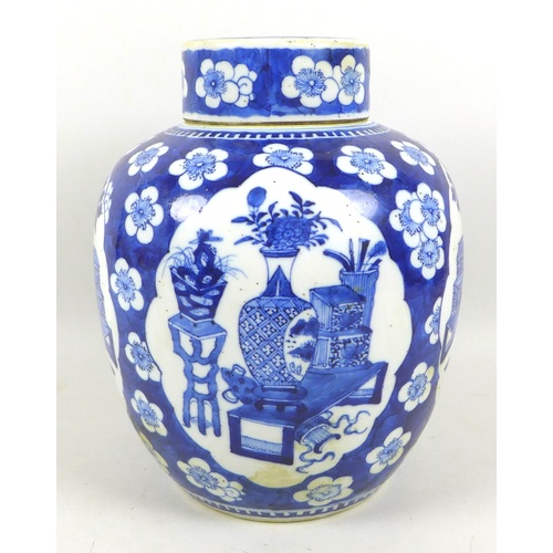 40 - A Chinese Qing Dynasty, 19th century, porcelain large ginger jar and cover, decorated in underglaze ...