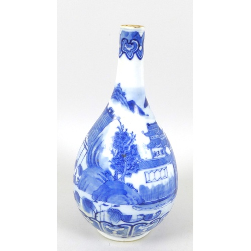 38 - A Chinese Qing Dynasty, late 19th / early 20th century, porcelain bottle vase, decorated in undergla...