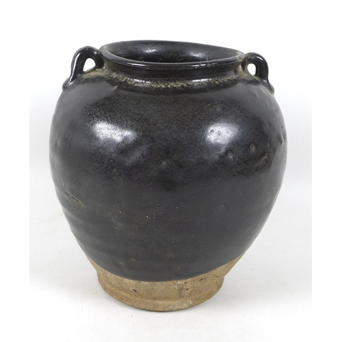 35 - A Chinese stoneware vase with black glaze, in Song style, two small loop handles to the shoulders, 2...