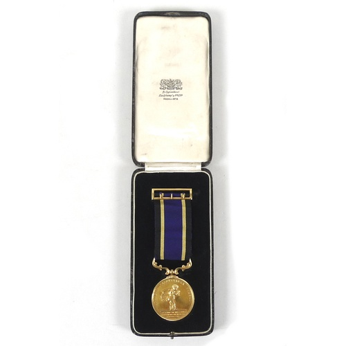 108 - An 18ct gold 1936 Royal Humane Society Stanhope medal for bravery, awarded to Noel Augustus Kinch, f...