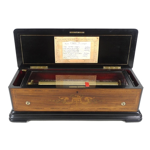 186 - A 19th century Swiss music box, playing 8 airs, possibly Nicole Freres, rosewood veneered, strung an...
