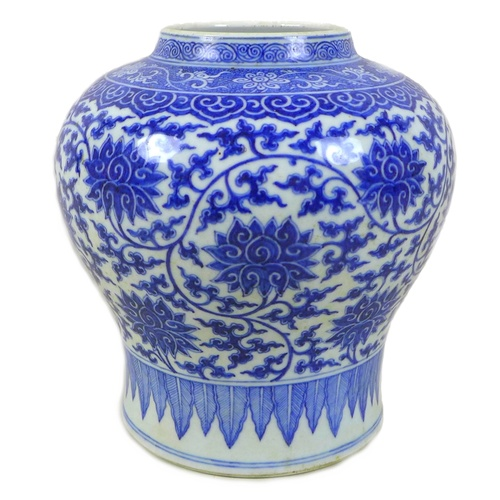 39 - A Chinese porcelain baluster vase, probably early 20th century, decorated in Ming style with chrysan...