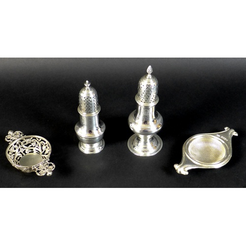 37 - A group of silver items, George III and later, comprising a pepperette, Samuel Wood, London 1760, 11...