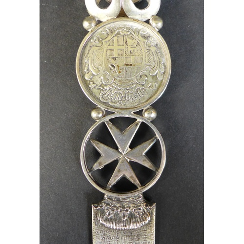 14 - A 19th century Maltese white metal letter opener, inset with a silver 1774 Fra Francisco Ximenez de ...