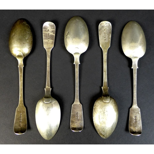 34 - A group of five George IV and later silver table spoons, comprising one George IV, Adey Bellamy Savo...