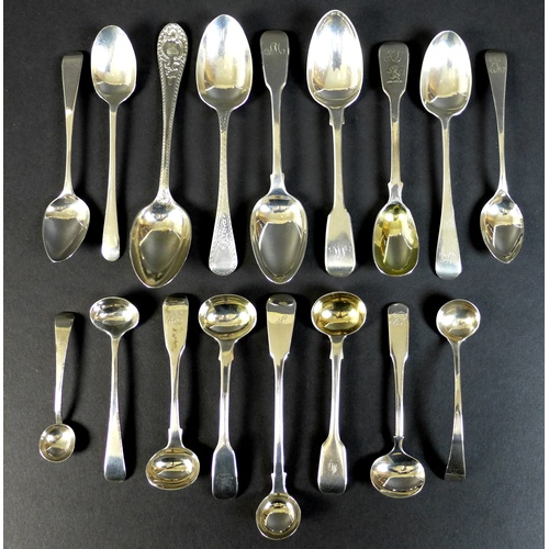 48 - A collection of seventeen Georgian and later silver condiment and teaspoons, including a teaspoon by...