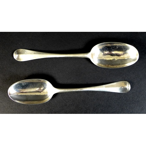 45 - Two George I silver Hanoverian rat tail pattern tablespoons, comprising one by Phillip Roker II, Lon...