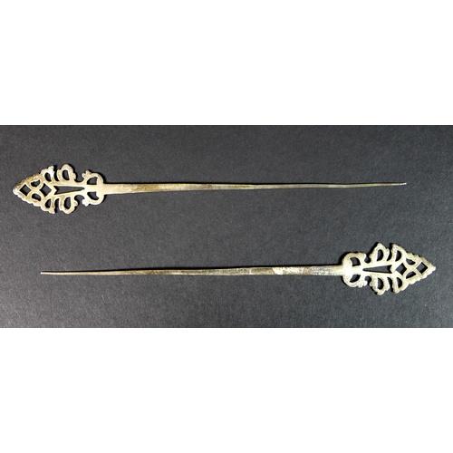 28 - A pair of Italian 800 grade silver hair pins, 'fuseii' or 'spazzaùrecc', late 19th / early 20th cent...