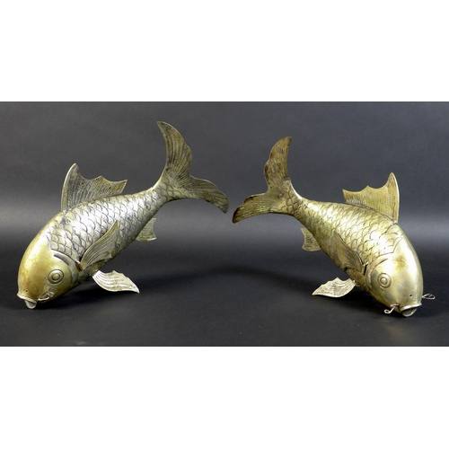 76 - A pair of South East Asian white metal Koi Carp, likely Cambodian Khmer silver, possibly by Sok Leng...