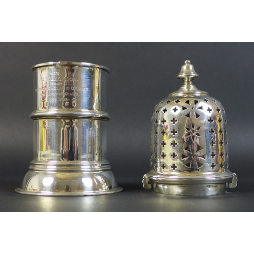 52 - A Victorian silver presentation engraved sugar castor, 'To C. H. Jackson from Prince Nicholas of Gre...