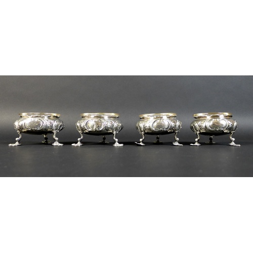 53 - A set of four Victorian silver cauldron salts, each engraved with a single 'R' to one side and with ...