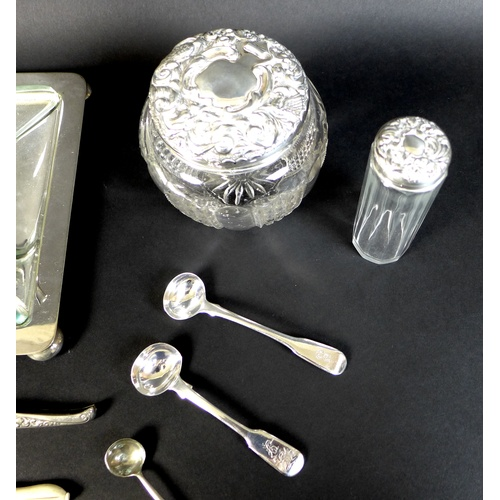 11 - A group of silver and silver plated items, including two condiment spoons, one by William Eley & Wil...