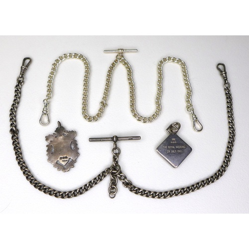 19 - A Victorian silver Albert fob chain, with sliding T bar and two end clasps, 37.5cm long, with a shie...
