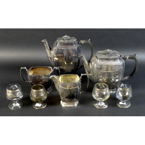 2 - An Art Deco silver plated four piece tea and coffee service, comprising coffee pot complete with ori...
