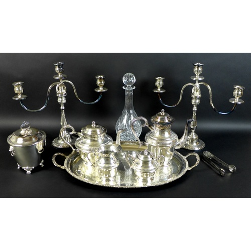 4 - A collection of modern silver plated items, comprising an EPNS four piece tea service, a twin handle...