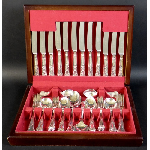 6 - A modern canteen of silver plated cutlery, Kings Pattern, six place settings, 44 pieces total, two s...