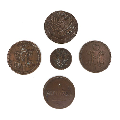 79 - A group of five late 18th / early 19th century Russian copper coins, a 1731 Denga, 26mm, 7.3g, a lat...