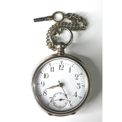 89 - A late 19th century French LUC open faced key wind pocket watch, 800 silver and gold plated case wit...