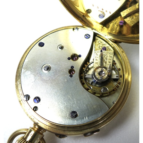 90 - A late Victorian 18ct gold open faced centre seconds chronograph pocket watch, keyless wind, the whi...