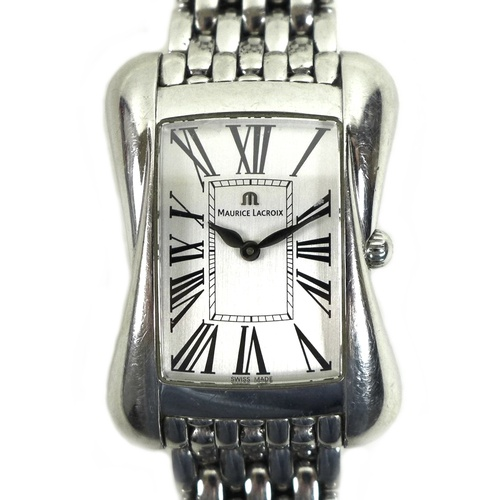 91 - A Maurice Lacroix Divina stainless steel cased lady's wristwatch, with rectangular silvered dial, st...