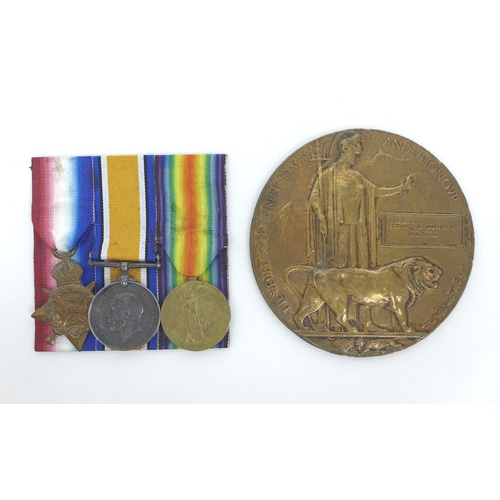 100 - A trio of WWI medals and a Death Plaque for 9664 Private P. C. Bowers, including a 1914 Mons Star, a...