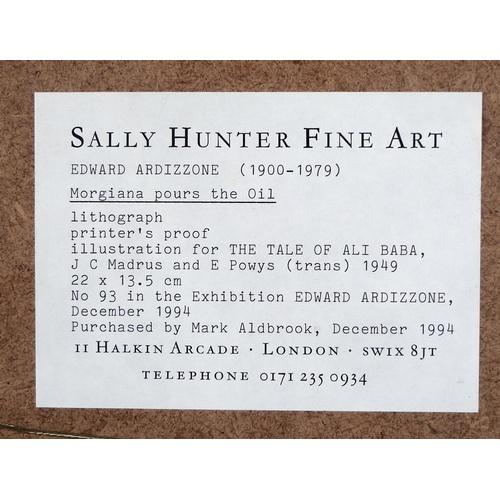 202 - Edward Ardizzone CBE RA (British, 1900-1979): 'Morgiana pours the Oil', lithograph, printer's proof,...