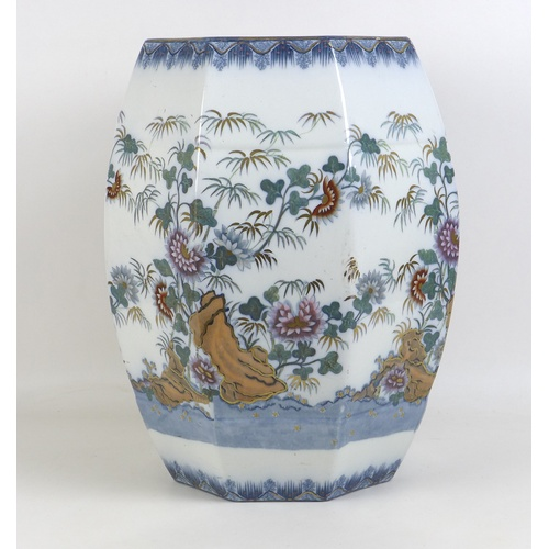 37 - A Copeland late Spode ceramic garden seat, circa 1880, of barrel form with pierced handle and sides,...