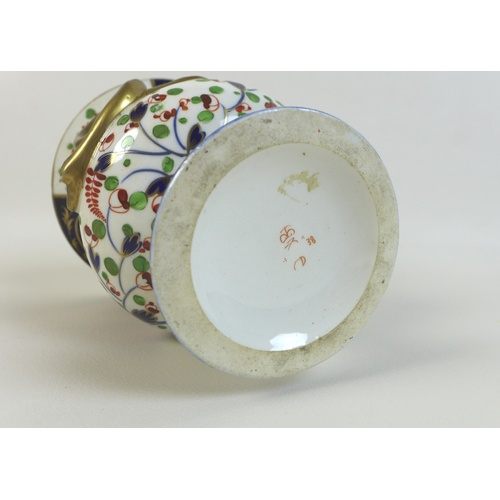 38 - A group of Derby porcelain items, comprising a campana style urn, circa 1820, with twin snake form g...