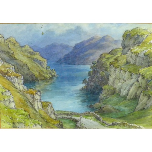 157 - Wilfrid Rene Wood (British, 1888-1976): 'Mountain Landscape & Lake' watercolour, unsigned but with e...
