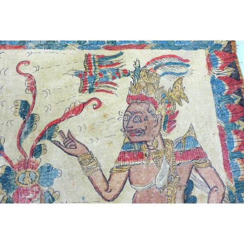12 - An Indonesian linen Batik and painted pictorial cloth, decorated with two figures possibly deities w...