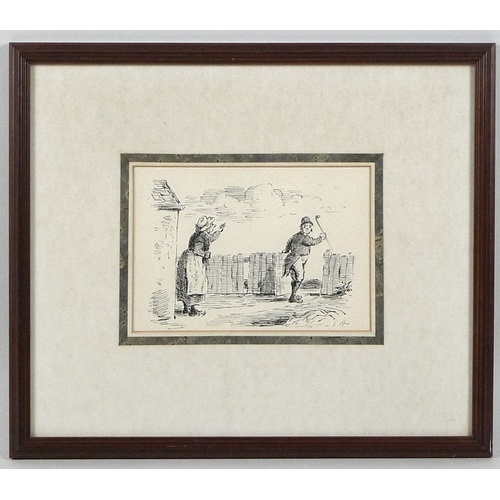 148 - Edward Ardizzone CBE RA (British, 1900-1979): two pen and ink humorous sketches, both depicting a Ge...