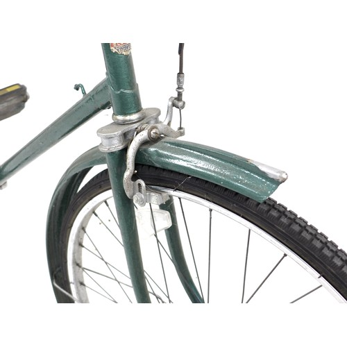 172 - A vintage Elswick gents bicycle, painted green, with Sturmy Archer gears and dyno lights, Brooks bro...
