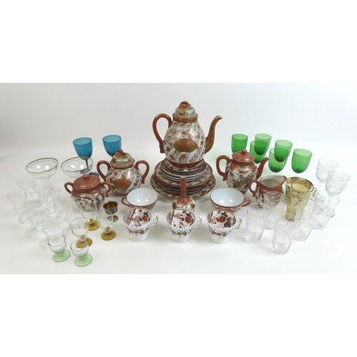 35 - A collection of various ceramics and glass ware, including three Spode imari pattern tea cups, numbe...